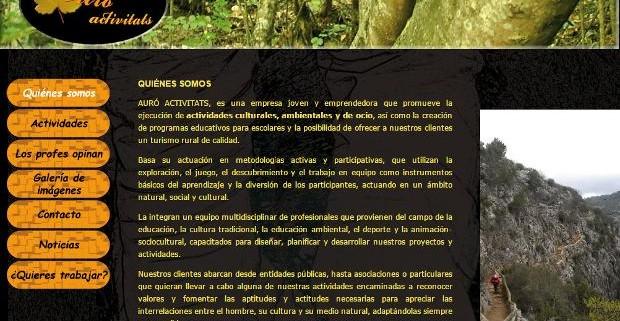 Viejo diseño web www.auroactivitats.es sección quiénes somos